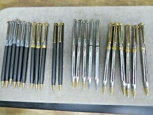 22 Vintage Tiffany & Co T-Clip Pens and Pencils, Stainless, two tone, black nice