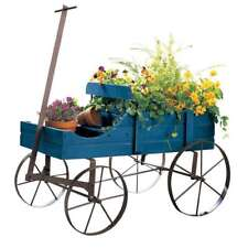 Vintage Wooden Wagon Planter blue distressed Wheels garden vintage country porch