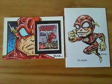 THE FLASH WITH STAMP HAND DRAWN COLOUR SKETCH CARD BY RAK DC COMICS ACEO PSC