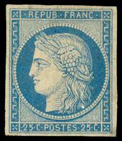 France #6 Mint EUR4300.00 1849 25c LIGHT BLUE ON BLUISH [Signed Scheller]