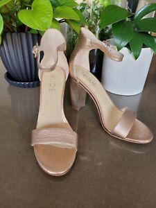 NUDE Leather open Toe Sandals Pump Heels Size 36