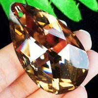 2pcs 50x28x14mm Faceted Brown Titanium Crystal Teardrop Pendant Bead A80779