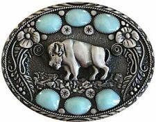 Vtg Buffalo Belt Buckle Turquoise Stone Bison Native American Yellowstone Animal