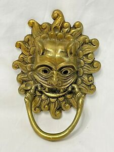 Vintage Durham Cathedral Sanctuary Door Knocker in Brass Demon Lion Face