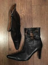 EU 36 UK 3 BLACK LEATHER ANKLE BOOTS/TOWIE/CLUB/IBIZA/XMAS/PARTY/WINTER/CHELSEA