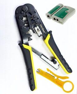 RJ45 RJ11 RJ12 Network Tool Kits Cable Tester Crimp Crimper LAN Wire Stripper