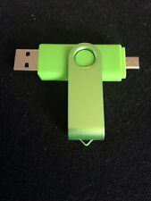Green 8GB USB 2.0 and micro usb Flash Pen Drive Memory Stick Rotary Thumb Key