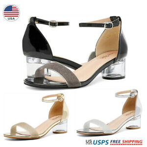 Womens Ankle Strap Open Toe Low Chunky Block Heel Sandals US Size 5-11