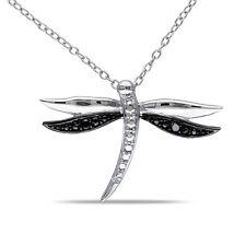Sterling Silver Black Diamond Dragonfly Necklace