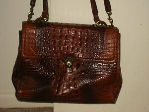 Brahmin Selia Pecan Lady Melbourne Brown Leather Satchel Crocodile Embossed