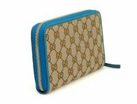 Gucci women's GG Original Beige Logo Canvas Leather Teal Blue Wallet 363423