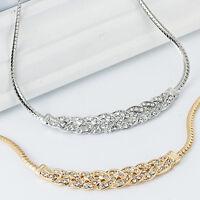 Women Fashion Crystal Chunky Statement Bib Pendant Choker Chain Necklace Jewelry