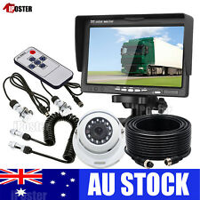 "Caravan 4 PIN Rear View 7"" Monitor+CCD Reversing Camera+Trailer Suzy Coil Cable"