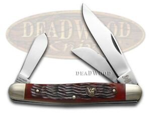 Hen & Rooster Stockman Knife Red Pick Bone Stainless Pocket Knives 313-RPB