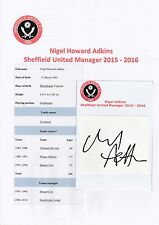 Nigel Adkins Sheffield United Manager 2015-2016 Original Firmado Corte/tarjeta