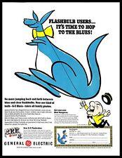 1965 General Electric Blue Flashbulbs Vintage PRINT AD Kangaroo Cartoon Drawing