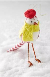 NEW Anthropologie OISEAU Ann Wood Bird Christmas Ornament Hat Striped Red Scarf