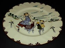 FRENCH CREIL-MONTEREAU PLATE. Hand painted Country scenes. 19th Century.