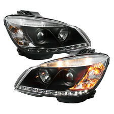 Mercedes Benz 08-11 W204 Classe C DRL Led Noir Phares Projecteur Lampes
