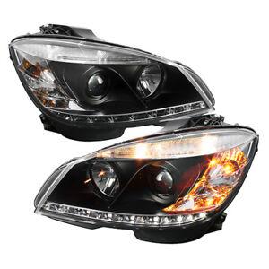 Mercedes Benz 08-11 W204 C-Class DRL LED Black Projector Headlights Lamps