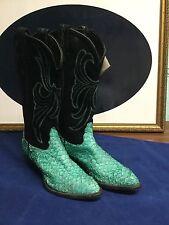 Tony Lama Cowgirl Boots Sz 6M Texas Black Blue Reptile Design Bnwt