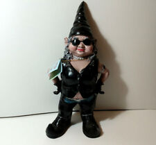 """Now-A-Day Biker Babe Gnome statue 16"""" cast resin in chaps lady"""