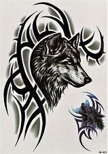 Wolf Tribal Wild Jagd Temporary Temporäre Klebe Einmal Tattoo 15x21 cm HB820