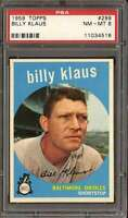 1959 TOPPS #299 BILLY KLAUS PSA 8 ORIOLES  *DS8891