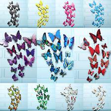 12Pcs 3D Sticker Autocollant Papillon Lumineux Mural Décor Mur DIY Chambre Salle