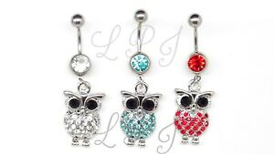 Belly Button Rings Surgical Steel Navel Ring Dangle Piercing WHITE OWL LOVERS