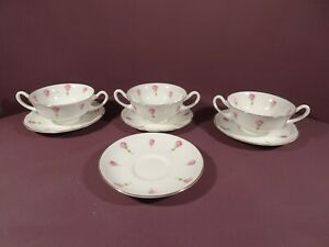 ROYAL DOULTON, DITSY ROSE, 3 X SOUP COUPES WITH STANDS