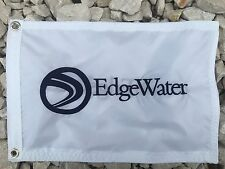 "Edge Water boat white 12""x18"" Embroidered flag"