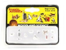 N Scale Woodland Scenics A2140 Dogs & Cats Figures (12) pcs