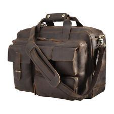 """Men Leather 16"""" Laptop Briefcase Shoulder Bag Travel Bag Satchel Handbag TOTE"""