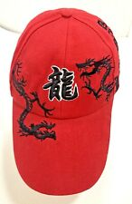 Dragon Cap Hat Japanese Letters Red Fire Dragons Adjustable