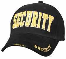 Black SECURITY Baseball Cap - Adjustable w/ Deluxe Raised GOLD Embroidery  9490