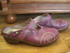 El Naturalista Iggdrasil Purple Leather Stitched Mary Jane Clogs Mules 37 7-7.5!