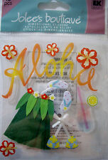 NEW 10 pc ALOHA FEMALE Grass Skirt Tropical Flowers Hawaii JOLEE'S 3D Sticker