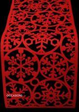 Natale Feltro Tavolo Runner Rosso Fiocco di Neve Decorazione Festività Cerimonia