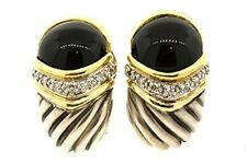 David Yurman Sterling Silver 18k Gold Capri Onyx Diamond Omega Back Earrings