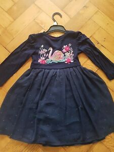 Girls Monsoon Navy Blue Sequin Swan Party Dress Size 2-3 years