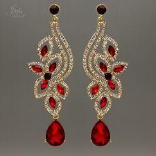 18K Gold Plated Red Crystal Rhinestone Wedding Drop Dangle Earrings 00035 Flower