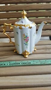 Vintage White Porcelain Handpainted Teapot Floral and Gold
