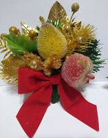 Vintage Christmas Corsage SUGAR COATED FRUIT Gold Red package tie