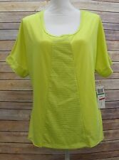 Jessica Simpson Junior Short Sleeve Mesh Insert Top Shirt Electric Lime S HM1310