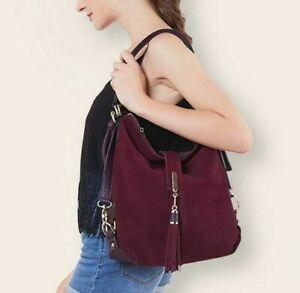 New Hot Shoulder Genuine Suede Bag Leather Purse Brown Handbag Tote Women Hobo B