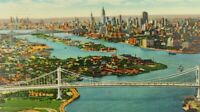 Triborough Bridge Looking On East River Over Hellgate NY Linen Vintage Postcard