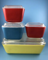 VTG PYREX Refrigerator Dish Set Primary Color 501 502 503 w/ Lids 8 pcs ( Set A)