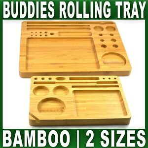 BUDDIES ROLLING TRAY Bamboo Smoking Accessories solid wood wooden Small Large