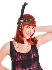 1920's Women's Black Flapper Headband w/h Feathers Charleston Gatsby Headpiece